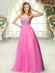 Floor Length A-line Sleeveless Hot Pink Prom Dress Zipper