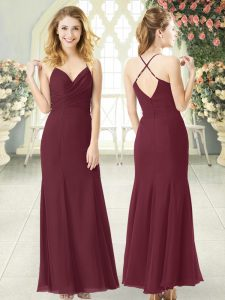Fantastic Spaghetti Straps Sleeveless Formal Evening Gowns Floor Length Ruching Burgundy Chiffon