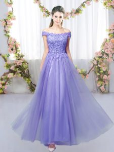 Lavender Tulle Lace Up Bridesmaid Dresses Sleeveless Floor Length Lace