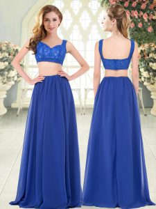 Luxury Royal Blue Zipper Prom Dress Beading and Lace Sleeveless Floor Length