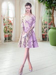 Latest Knee Length Lace Up Dress for Prom Lilac for Prom and Party with Ruching
