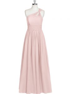 Empire Prom Dresses Baby Pink One Shoulder Chiffon Sleeveless Floor Length Side Zipper