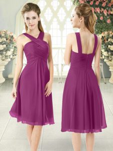 Attractive Purple Empire Straps Sleeveless Chiffon Knee Length Zipper Ruching Prom Dresses