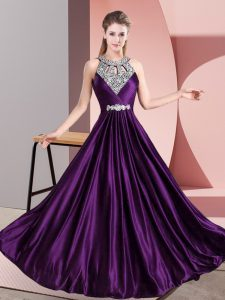 Satin Halter Top Sleeveless Zipper Beading Formal Dresses in Purple