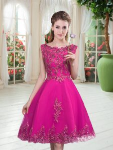 Fuchsia Sleeveless Tulle Lace Up Dress for Prom for Prom and Party