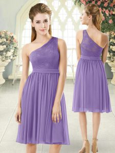 Most Popular Sleeveless Knee Length Lace Side Zipper Prom Gown with Lavender