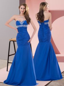 Satin Sleeveless Floor Length Evening Gowns and Beading and Ruching