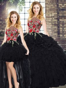 Black Sleeveless Floor Length Embroidery and Ruffles Zipper 15 Quinceanera Dress
