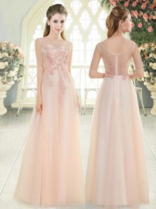Captivating Pink Scoop Zipper Beading and Lace and Appliques Prom Evening Gown Sleeveless