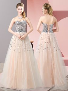 Peach A-line Tulle Sweetheart Sleeveless Beading Floor Length Lace Up Prom Dress