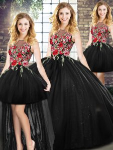 Dramatic Floor Length Zipper Sweet 16 Quinceanera Dress Black for Military Ball and Sweet 16 and Quinceanera with Embroidery
