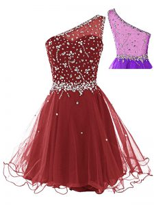Wine Red Sleeveless Tulle Side Zipper for Prom and Party
