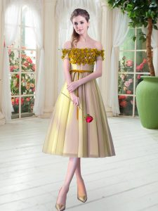 Tea Length A-line Sleeveless Gold Prom Evening Gown Lace Up