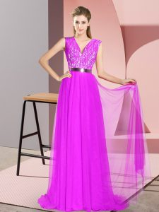 Purple Prom Dress Prom and Party and Military Ball with Beading and Lace V-neck Sleeveless Sweep Train Zipper