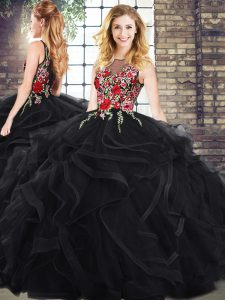 Scoop Sleeveless 15 Quinceanera Dress Embroidery and Ruffles Zipper