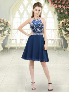 Blue Chiffon Zipper Halter Top Sleeveless Knee Length Prom Dress Beading