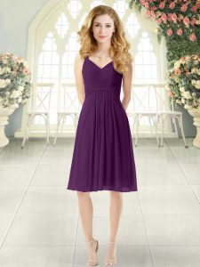 Knee Length Purple Prom Party Dress Straps Sleeveless Zipper
