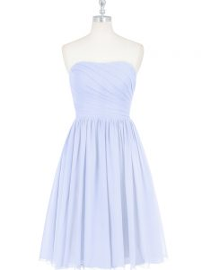 High End Chiffon Strapless Sleeveless Side Zipper Ruching and Pleated in Light Blue