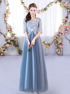 Floor Length Blue Bridesmaid Dress Tulle Half Sleeves Lace
