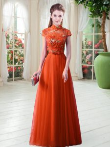 Decent Appliques Homecoming Dress Orange Red Lace Up Cap Sleeves Floor Length