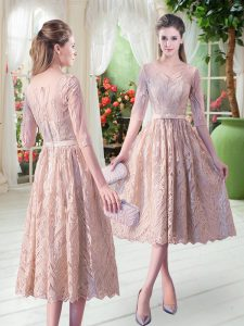 Flirting Tea Length Champagne Homecoming Dress Lace Half Sleeves Belt