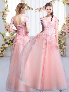Pink Cap Sleeves Tulle Lace Up Dama Dress for Quinceanera for Prom and Party and Wedding Party