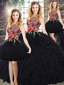 Custom Made Black Sleeveless Embroidery and Ruffles Quince Ball Gowns