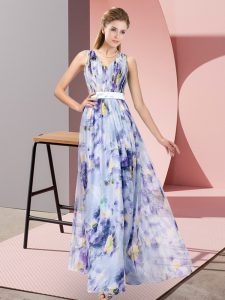 Graceful Multi-color Printed Zipper Prom Gown Sleeveless Floor Length Pattern