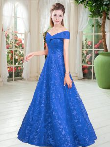 Lace Off The Shoulder Sleeveless Lace Up Beading Prom Dresses in Blue