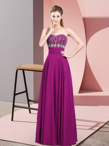 Strapless Sleeveless Floor Length Beading and Ruching Fuchsia Chiffon