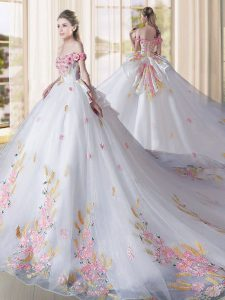 Spectacular White Tulle Lace Up Quince Ball Gowns Sleeveless Cathedral Train Appliques