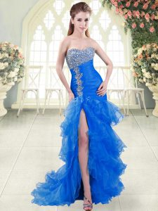 Blue Sweetheart Lace Up Beading and Ruffled Layers Prom Evening Gown Sweep Train Sleeveless
