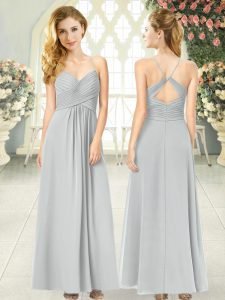 Noble Sleeveless Chiffon Ankle Length Criss Cross Dress for Prom in Grey with Ruching