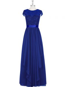Eye-catching Scoop Cap Sleeves Chiffon Womens Evening Dresses Lace Zipper