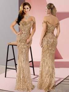Hot Selling Gold Sequined Zipper Sleeveless Floor Length Ruching