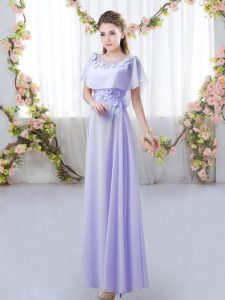 High End Lavender Empire Appliques Quinceanera Dama Dress Zipper Chiffon Short Sleeves Floor Length