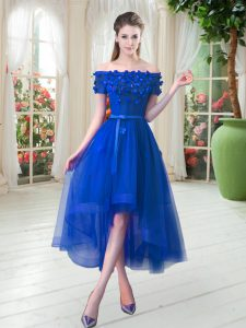 Fabulous Royal Blue Short Sleeves Appliques High Low Homecoming Dress