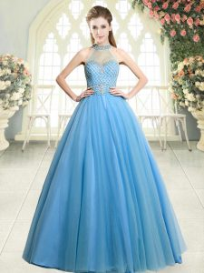 Inexpensive Blue Sleeveless Tulle Zipper Prom Party Dress for Prom and Party