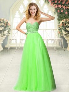 A-line Sweetheart Sleeveless Tulle Floor Length Zipper Beading and Lace Prom Party Dress