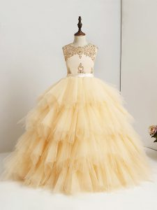 Ball Gowns Little Girl Pageant Gowns Gold Scoop Tulle Sleeveless Floor Length Zipper