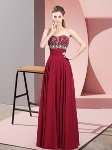 Red Empire Chiffon Strapless Sleeveless Beading Floor Length Zipper Dress for Prom