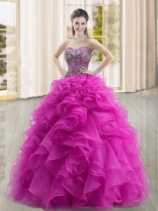 Sweetheart Sleeveless Lace Up Sweet 16 Dress Fuchsia Organza