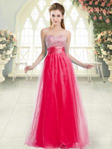 Coral Red Lace Up Prom Evening Gown Beading Sleeveless Floor Length