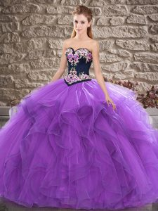Elegant Purple Sleeveless Beading and Embroidery Floor Length Ball Gown Prom Dress