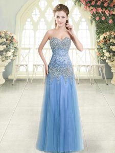 Stunning Floor Length Column/Sheath Sleeveless Blue Evening Wear Zipper