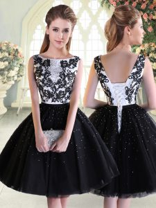 Black Lace Up Beading and Lace Sleeveless Mini Length