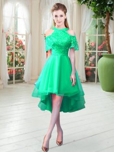 High-neck Short Sleeves Tulle Lace Zipper
