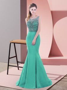 Turquoise Satin Backless Scoop Sleeveless Sweep Train Beading