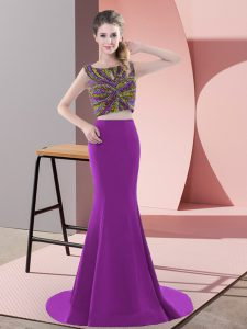 Suitable Purple Sleeveless Sweep Train Beading Dress for Prom