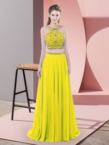 Yellow Sleeveless Sweep Train Beading Prom Evening Gown